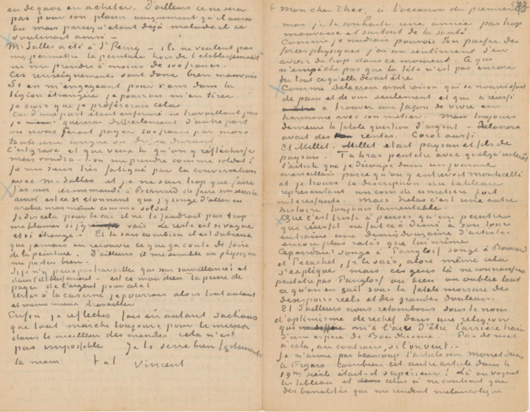 lettre de Vincent van gogh